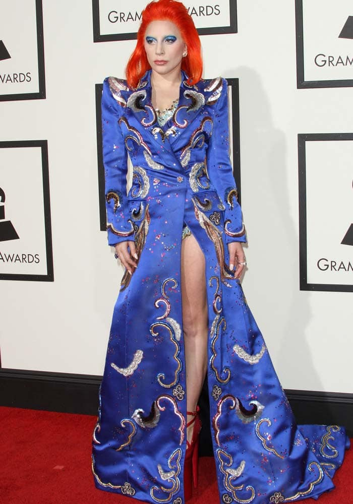 Lady Gaga arrives at the 2016 Grammys held at the Staples Center in Los Angeles on February 15, 2016