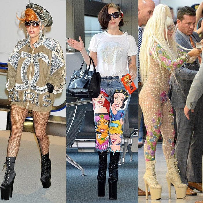 Lady Gaga and her insane platforms arriving at Narita International Airport in Tokyo, Japan, on May 16, 2012; Arriving at Narita International Airport again on December 3, 2013; Leaving Narita International Airport on August 12, 2014.