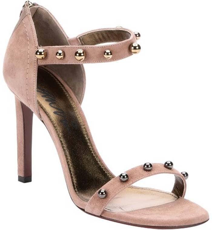 Lanvin Beige Suede Kipa Sphere Studded Ankle Strap Sandals