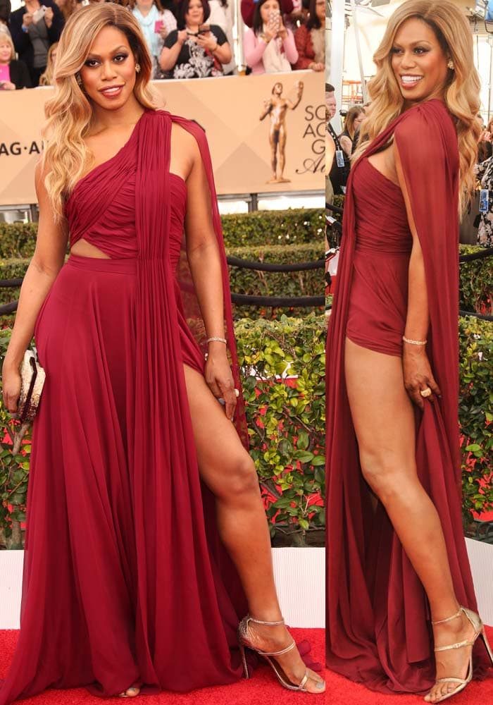 Laverne Cox shows off her legs and shoulders in a wine-colored Prabal Gurung dress