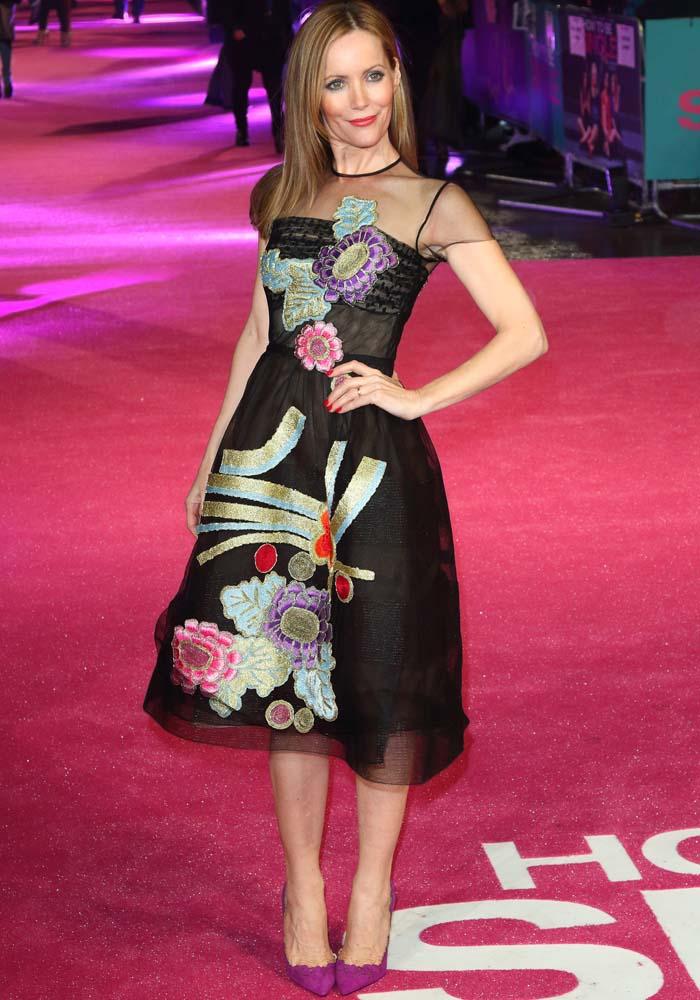 Leslie Mann wears a floral-embellished Reem Acra dress on the pink carpet