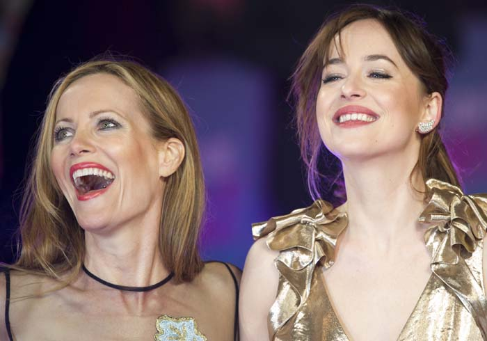 "Dakota Johnson and Leslie Mann attend the European premiere of ""How to Be Single"""