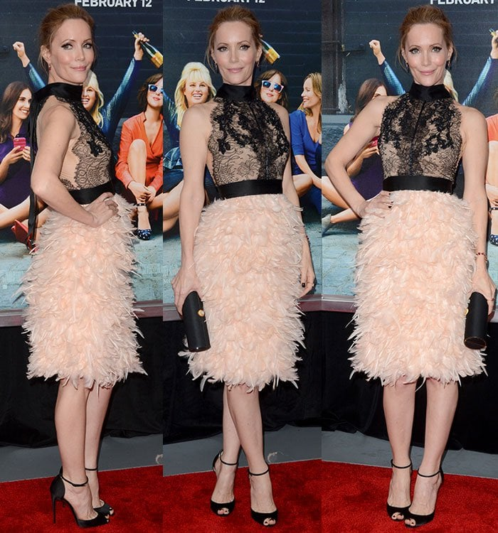 Leslie-Mann-black-lace-top-pink-feather-skirt
