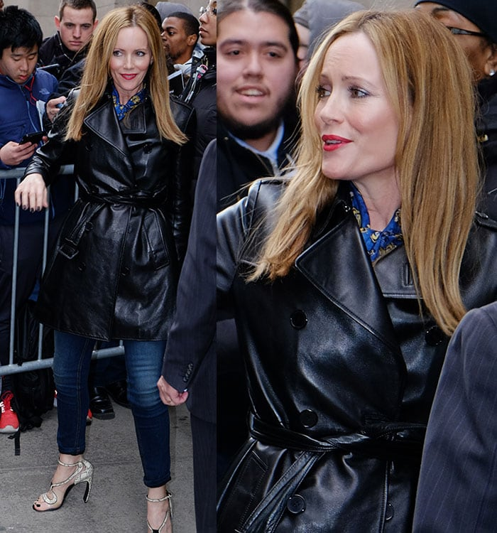 Leslie Mann wears a black leather coat after a media appearance in New York City