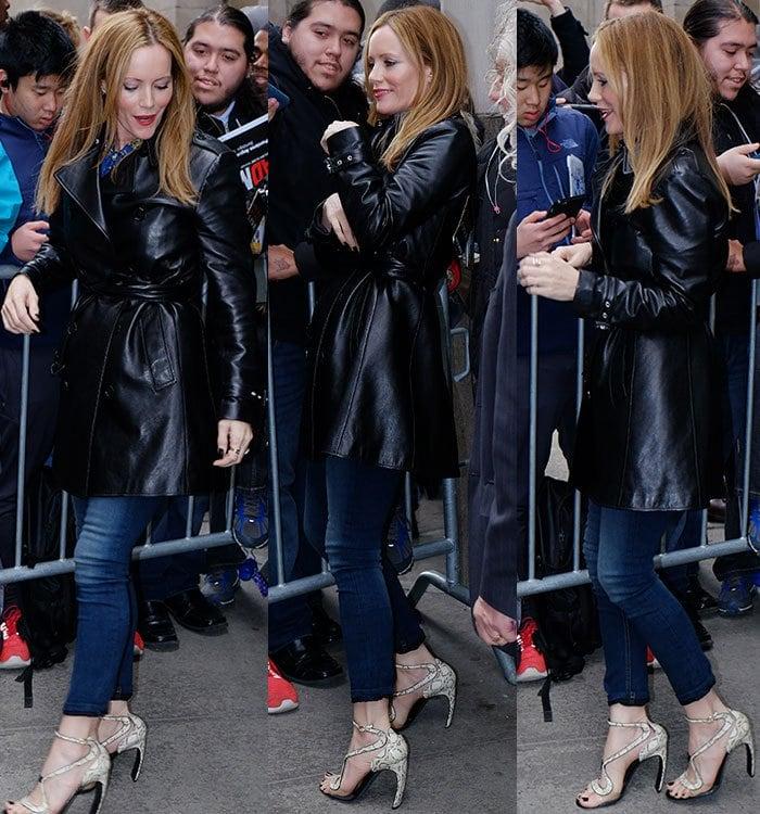 Leslie-Mann-leather-coat-blue-jeans-sandals