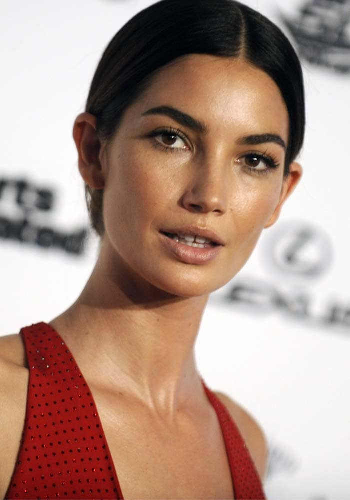 Lily Aldridge wears her hair back at the 2016 Sports Illustrated Celebrates Swimsuit VIP press event