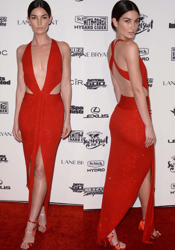 Lily Aldridge wears a red Alexandre Vauthier dress on the red carpet