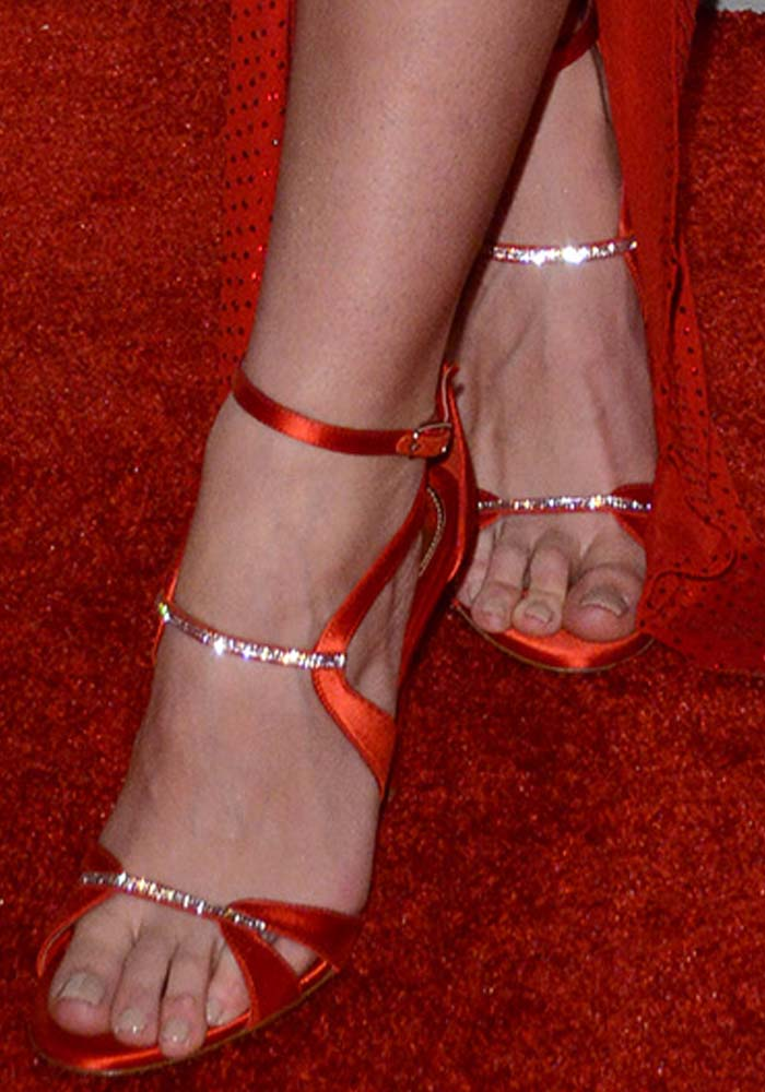 Lily Aldridge's feet in custom red Alexandre Vauthier heels