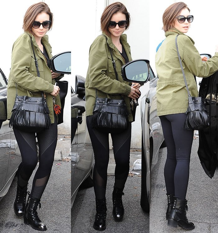 Lily Collins carries a fringe Gerard Darel bag out in Los Angeles