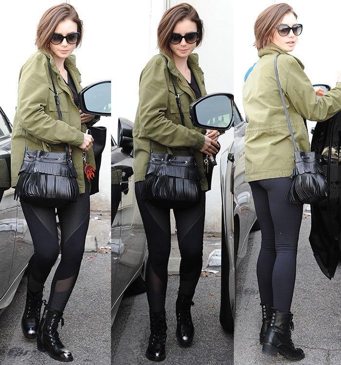Lily-Collins-Levis-Jacket-black-leggings-lace-up-boots