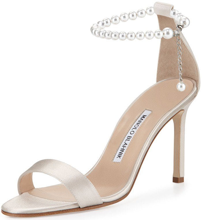 Manolo Blahnik Chaos Pearly Ankle-Wrap Sandal in Champagne