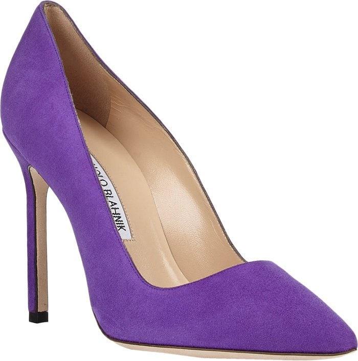 """Purple Manolo Blahnik """"BB"""" Pointy Toe Pumps"""