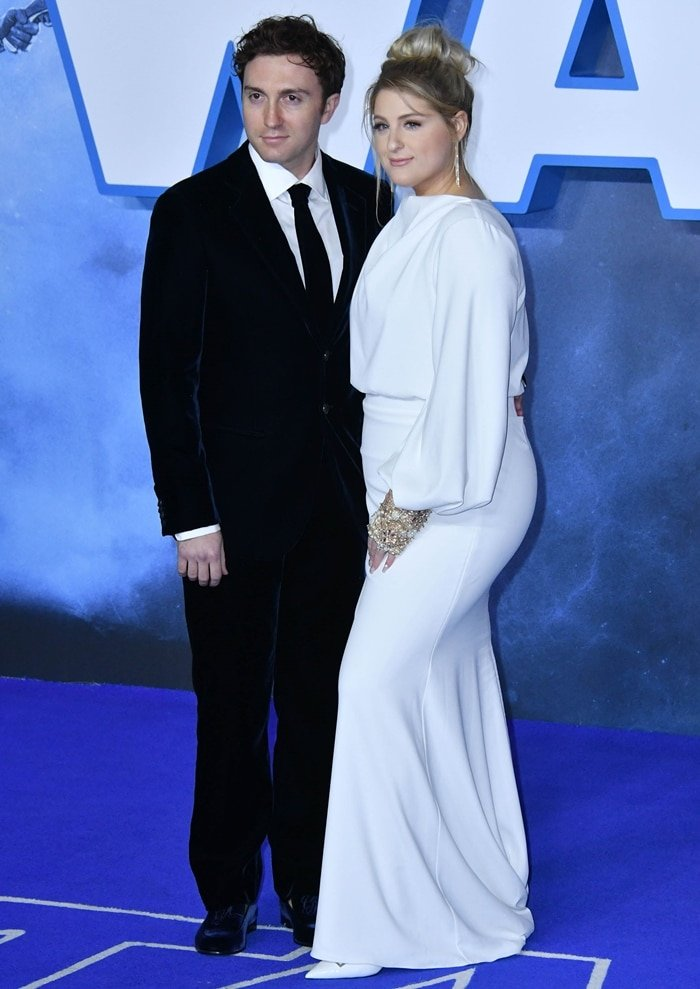 Wearing a Badgley Mischka Couture exclusive long-sleeve gown, Meghan Trainor was joined by her husband Daryl Sabara at the European film premiere of 'Star Wars: The Rise of Skywalker'