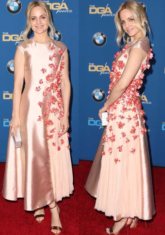 Mina Suvari wears a pink satin Bibhu Mohapatra dress on the red carpet