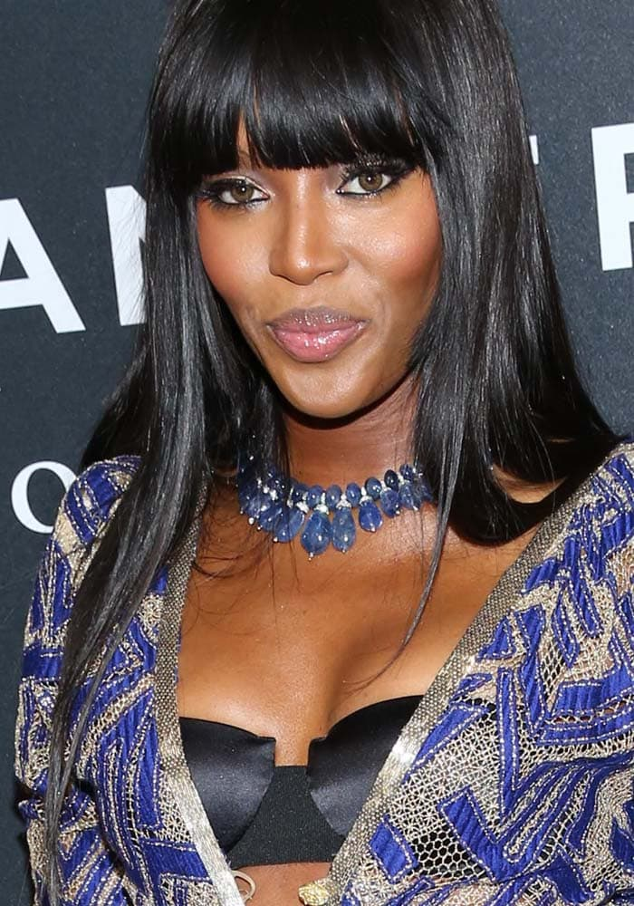 """Naomi Campbell wears her dark hair down at the """"Zoolander No. 2"""" premiere"""