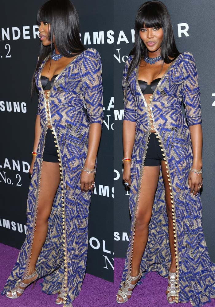 """Naomi Campbell wears a floor-length robe over her lingerie to the premiere of """"Zoolander No. 2"""""""