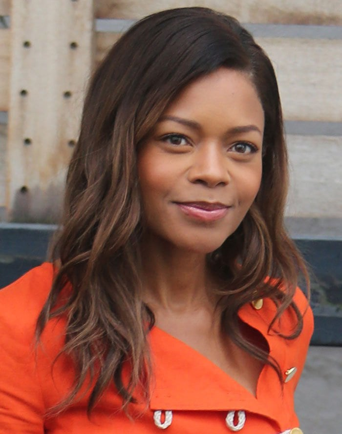 """Naomie Harris wears her hair down during a London trip to promote the DVD release of """"Spectre"""""""
