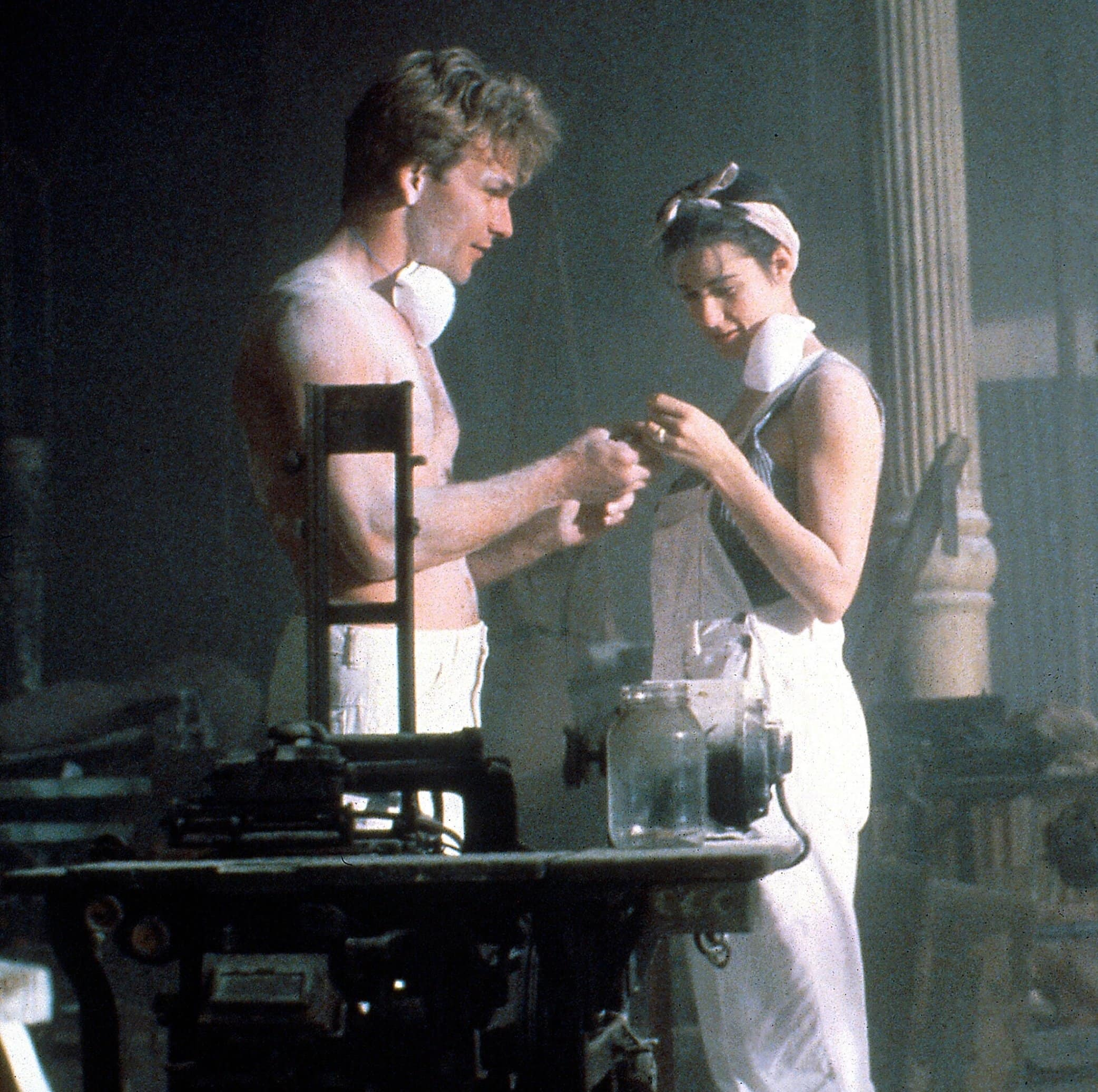 Patrick Swayze as Sam Wheat and Demi Moore as Molly Jensen in the 1990 American romantic fantasy thriller film Ghost