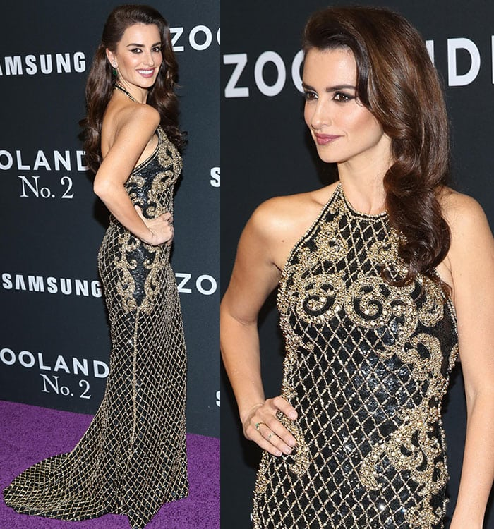 Penelope-Cruz-Balmain-embellished-halter-neck-gown