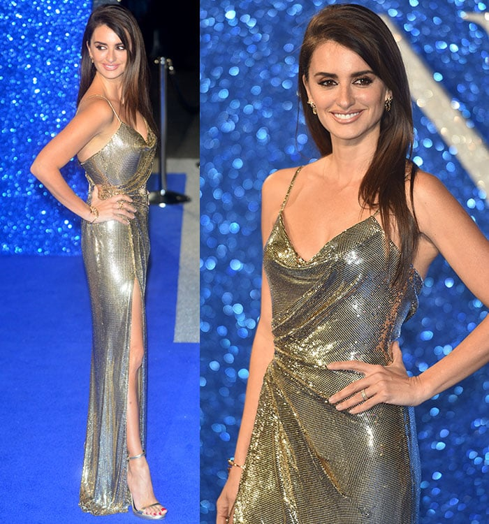 Penelope Cruz shows off her figure in a slinky metallic Atelier Versace gown