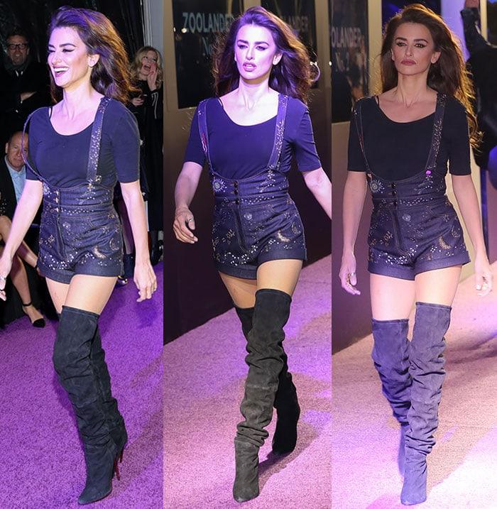 Penelope-Cruz-embroidered-denim-playsuit-boots