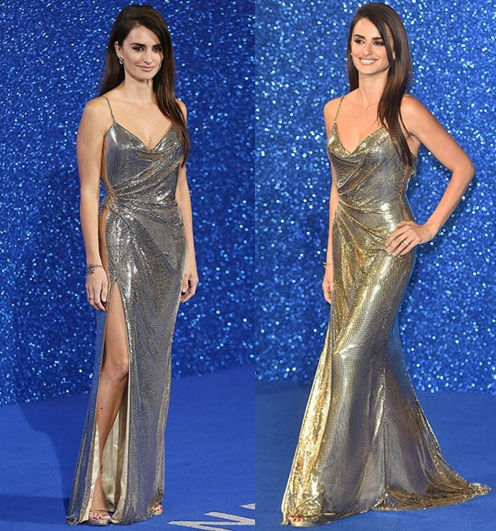Penelope-Cruz-plunging-shimmering-slinky-gown-thigh-slit