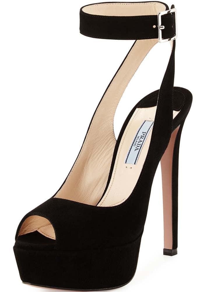 Prada Suede Platform Ankle-Strap Sandal in Nero