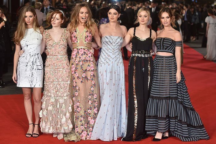 "The ladies of ""Pride and Prejudice and Zombies"" from left to right: Hermione Corfield, Ellie Bamber, Suki Waterhouse, Millie Brady, Bella Heathcote, and Lily James"