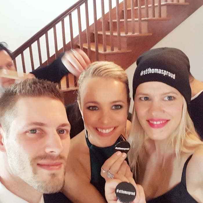 """Rachel McAdams with her younger sister, make-up artist Kayleen McAdams, and her younger brother, personal trainer Daniel """"Dan"""" McAdams"""