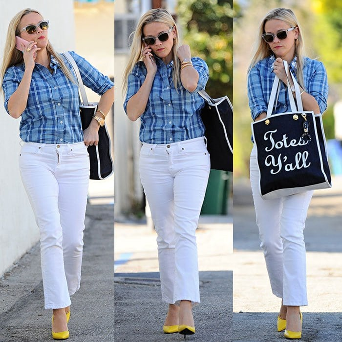 Reese Witherspoon wears a Draper James shirt and pants look with yellow accessories