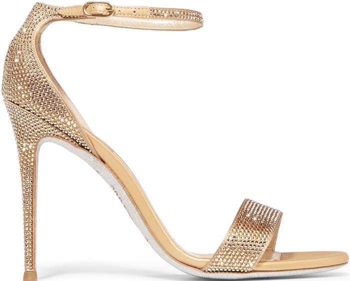 Rene Caovilla Swarovski Crystal-Embellished Satin Sandals