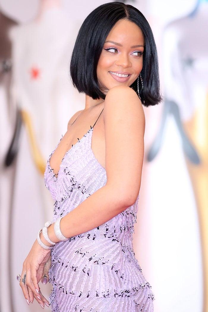 Rihanna's Armani Prive ruffle-layered dress