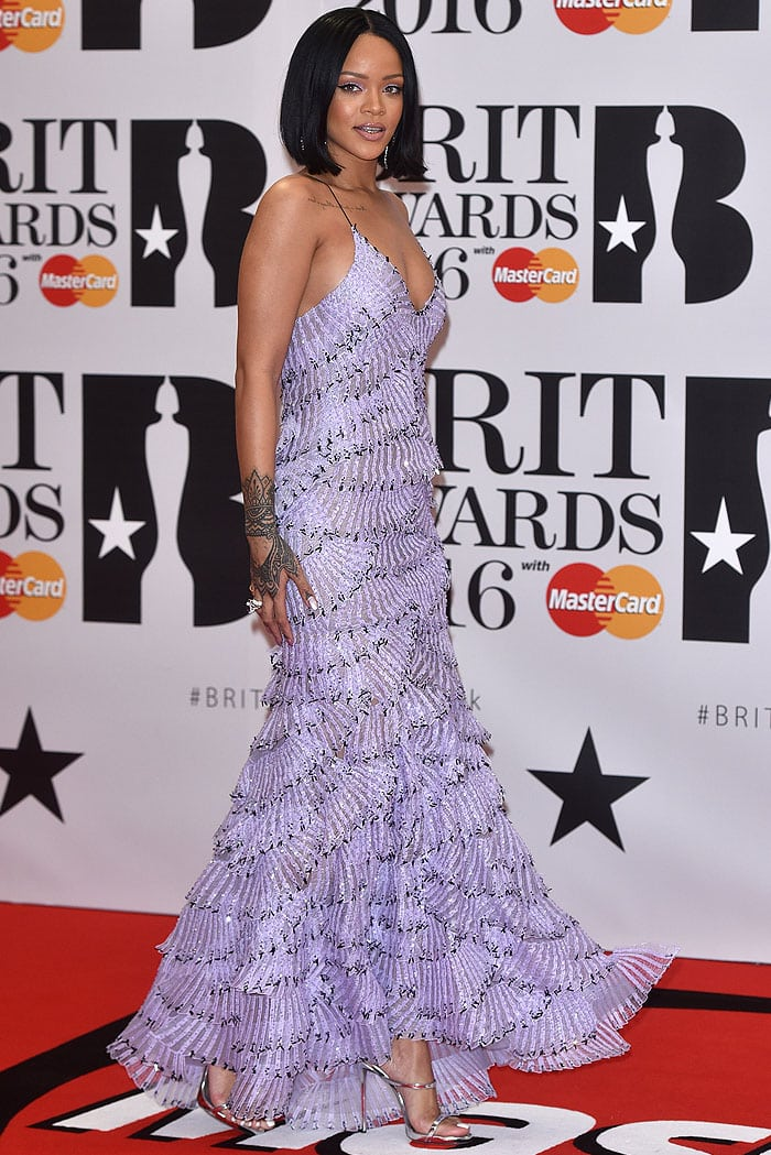 Rihanna arriving at the 2016 BRIT Awards held at the O2 Arena in London