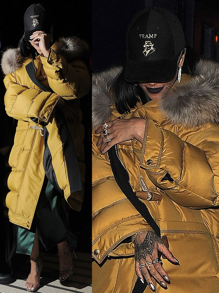 Rihanna stepping out after celebrating the 2016 BRIT Awards after-party at the Tramp nightclub in London