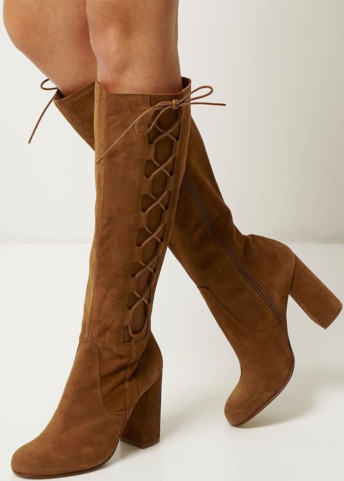 Brown River Island Knee-High Lace-Up Boots
