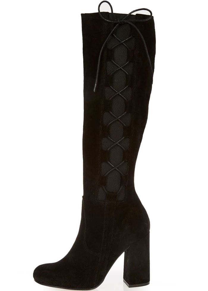 River Island Knee-High Lace-Up Boots Black