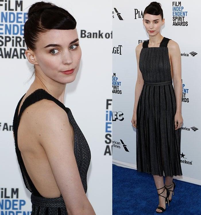 Rooney-Mara-Boss-gray-black-dress
