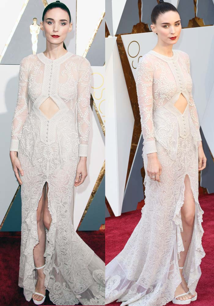 Rooney Mara wears a white lace Givenchy dress on the red carpet