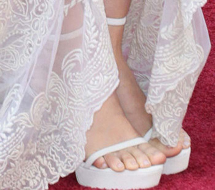 Rooney Mara's feet in white platform sandals