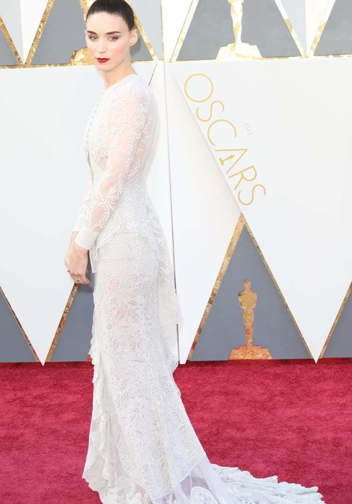 Rooney Mara looks bridal in a white lace Givenchy dress on the red carpet