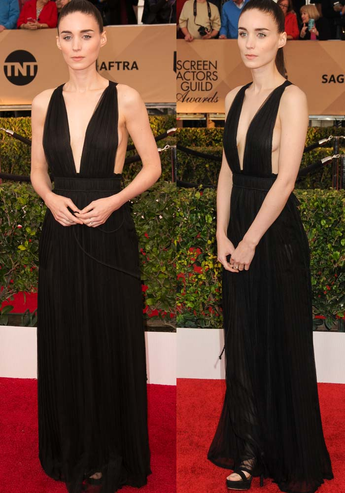 Rooney Mara wears a plunging black Valentino dress on the red carpet