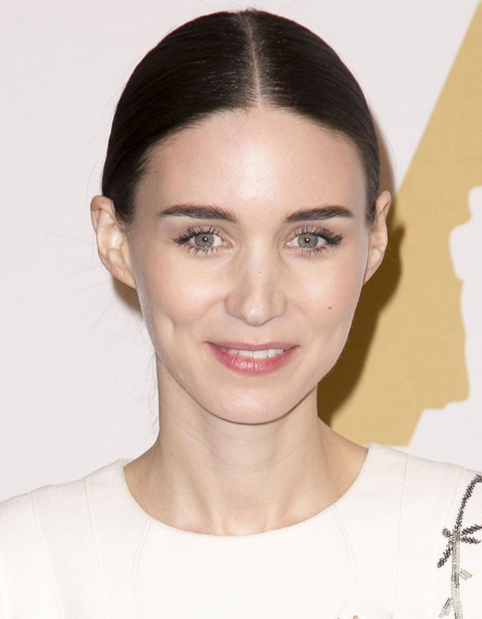 Rooney Mara wears her hair back at the 88th Oscars Nominees Luncheon