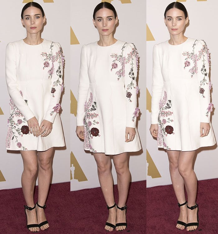 Rooney-Mara-white-long-sleeve-mini-dress-floral-embroideries