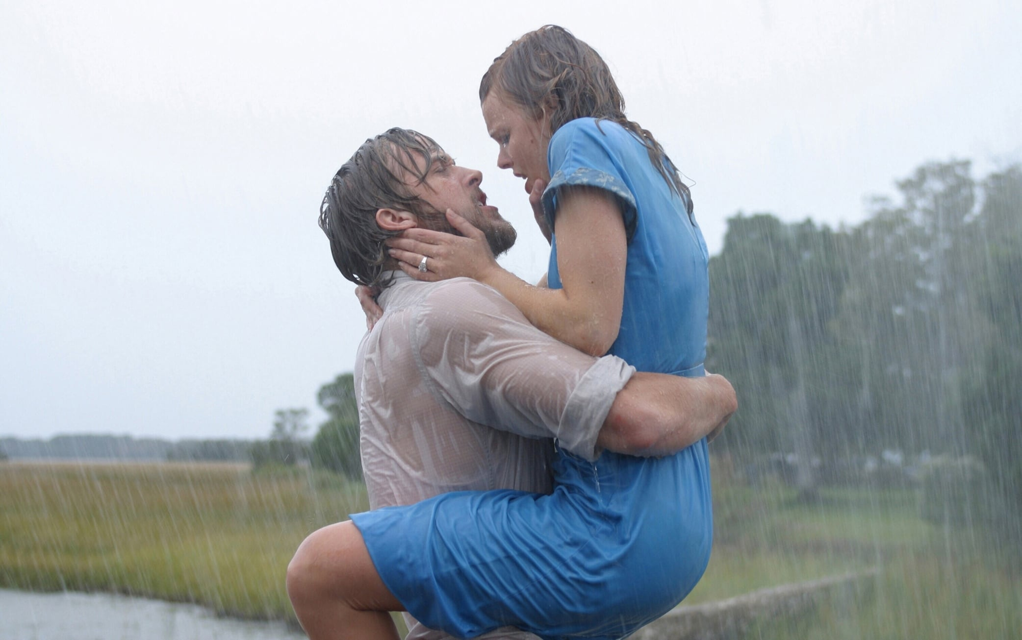 "Ryan Gosling as Noah Calhoun and Rachel McAdams as Allison ""Allie"" Hamilton in The Notebook"
