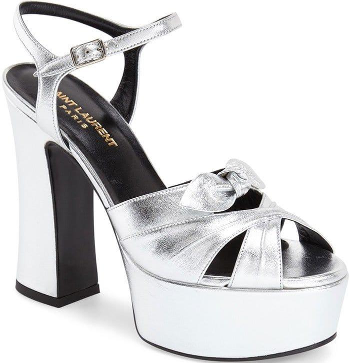 Silver Saint Laurent Candy Platform Sandals