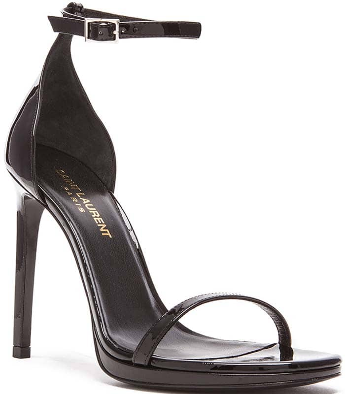 Saint Laurent 'Jane' Patent Leather Sandals in Black