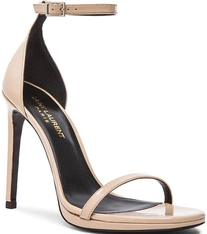 Saint Laurent 'Jane' Patent Leather Sandals in Nude