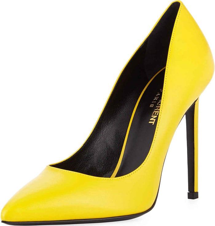 Saint-Laurent-Paris-Yellow-Leather-Pumps