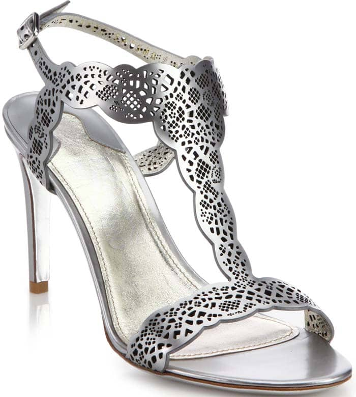 Salvatore Ferragamo Garcia Laser-Cut Metallic Leather T-Strap Sandals