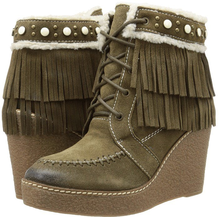 Sam Edelman Kemper faux shearling-lined fringed suede wedge boot moss green
